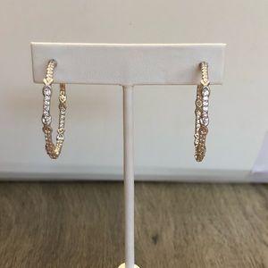 Diamonique Hoop Earrings - NWOT
